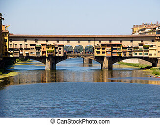 ponte vecchio, a través de, arno, river.