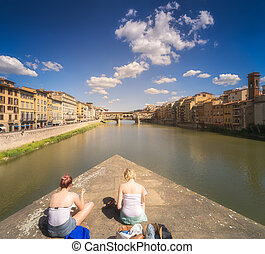 Ponte Vecchio and Arno River in Florence, Italy - Day vew of...