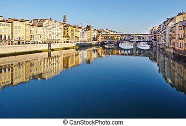 ponte vecchio, arno río, -, florencia
