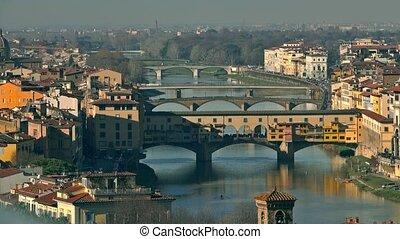 Ponte Vecchio bridge, a major Italian landmark, and the...