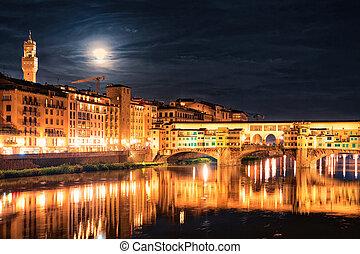 Ponte Vecchio bridge in Florence night