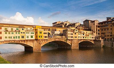 ponte vecchio, encima, arno río