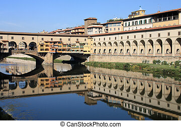 Ponte Vecchio, Florence - Cityscape of Florence, Italy with...