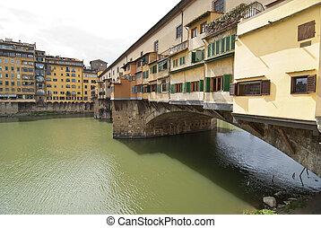 Ponte Vecchio, Florence - Side view of Ponte Vecchio in...
