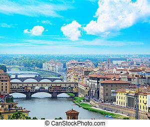 ponte vecchio, i, inny, mosty, na, arno rzeka, w, florencja