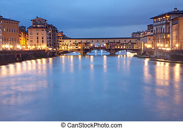 Florence, Italy - Ponte Vecchio bridge by night