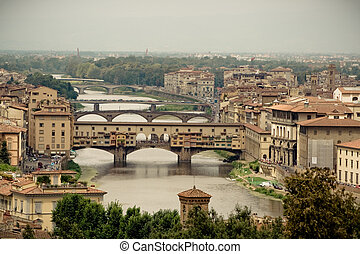 Ponte Vecchio (Old Bridge) - Medieval shop bridge over the Arno River, in Florence, Italy