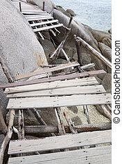 ponte, vecchio, legno, isola, danno, nang, mare, yuan
