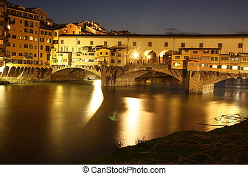 Ponte vecchio nightview in florence, long exposure