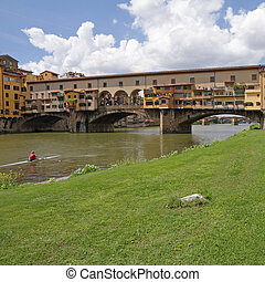 Ponte Vecchio - Old Bridge - seen from bank of Arno river, Florence, Italy