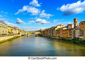 Ponte Vecchio on sunset, old bridge, medieval landmark on Arno river. Florence, Tuscany, Italy.