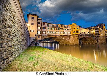 Ponte Vecchio over Arno River, Florence, Italy. Beautiful upward