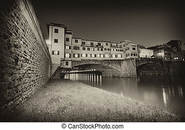 Ponte Vecchio over Arno River, Florence, Italy. Beautiful upward