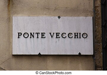 Ponte Vecchio sign