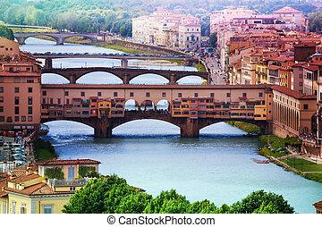 ponte vecchio, sopra, fiume arno