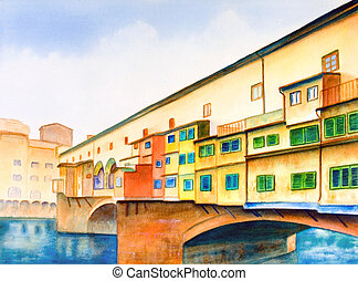 Ponte vecchio (the old bridge) in Florence, Italy. Hand ...
