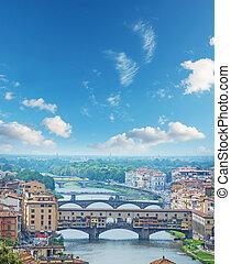ponte vecchio, und, andere, brücken, aus, arno fluß, in, florenz