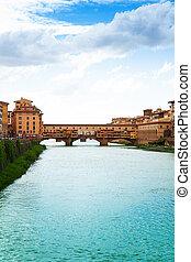 ponte vecchio, y, arno río