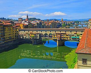 ponte vecchio, y, el, arno río