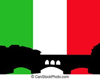 Ponte vechio bridge Florence against italian flag...