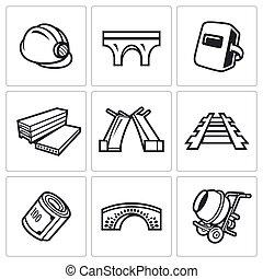 ponte, vetorial, illustration., ícones, set., construção