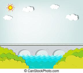 ponte, vettore, applique., paesaggio