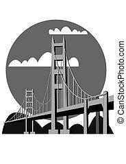 ponte, vettore, -, cancello, dorato