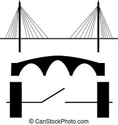 ponte, vettore, silhouette