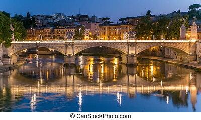 Ponte Vittorio Emanuele II is bridge across Tiber day to night timelapse in Rome, Italy
