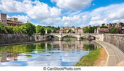 Ponte Vittorio Emanuele II on the river Tiber in Rome, Italy