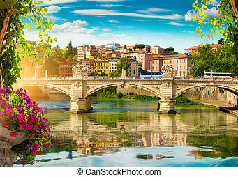 Ponte Vittorio Emanuele II on the river Tiber in Rome, Italy