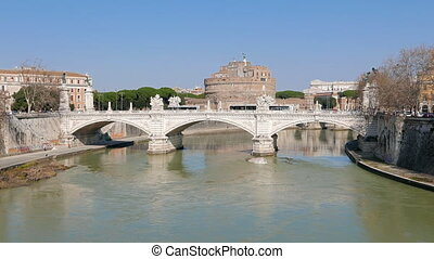 Ponte Vittorio Emanuele II. Rome, Italy. UltraHD (4K)