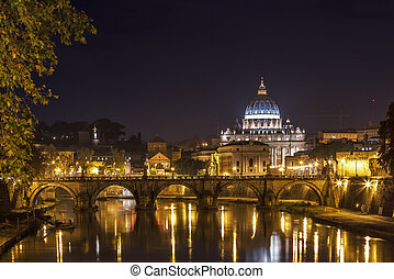 View of Ponte Vittorio Emanuele II and St. Peter's Basilica in evening, Rome, Italy