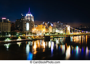 ponte, warhol, pittsburgh, pennsylvania., orizzonte, andy, notte