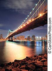 ponte, york, città, manhattan, nuovo