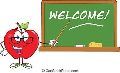 ponteiro, maçã, professor