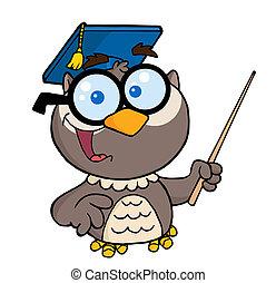 ponteiro, segurando, coruja, professor