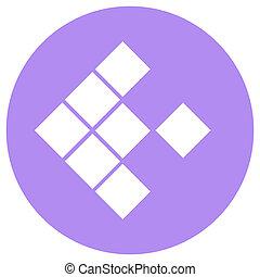 ponteiro, seta, em, modernos, apartamento, style., seta, botão, isolado, branco, experiência., símbolo, para, projeto teia, local, app, ui.
