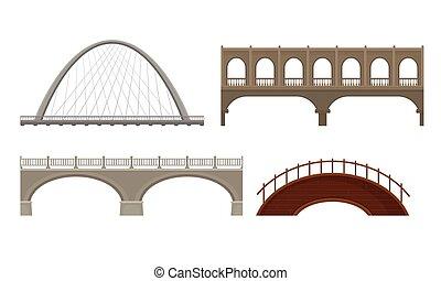 pontes, branca, vetorial, feito, jogo, concreto, vário, ...