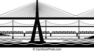 pontes, rio, vário, crucifixos