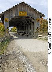 ponti coperti, in, nord-est, ohio, counties., presto, cadere, season.