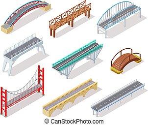 ponti, isometrico, elementi, città, bridge., inarcamento, isolato, ponte levatoio, concreto, infographics, fiume, arco, strada, 3d
