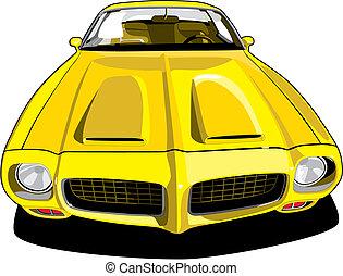 Pontiac Firebird - vectorial image of yellow sports car