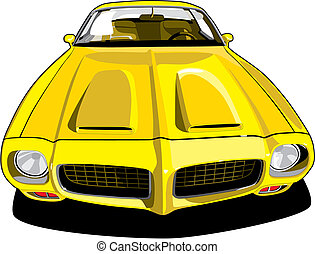 Pontiac Firebird - vectorial image of yellow sports car