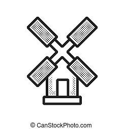pontilhado, fazenda, desenho, turbina, vento, ícone