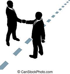 pontilhado, pessoas negócio, apertar as mãos, linha, ...