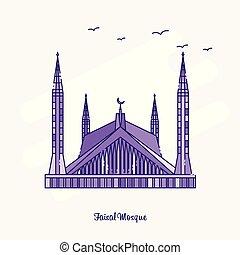pontilhado, roxo, mesquita, faisal, ilustração, skyline, vetorial, marco, linha