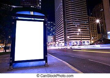 ponto ônibus, anúncio, exposição