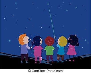 ponto, crianças, ilustração, stickman, laser, estrelas
