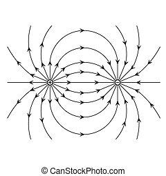 ponto, débito, positivo, vec..., negativo, campo, elétrico